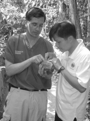 Mr Phong at the TCC receiving veterinary training from Dr Paul Calle of WCS with a Pyxidea mouhotii