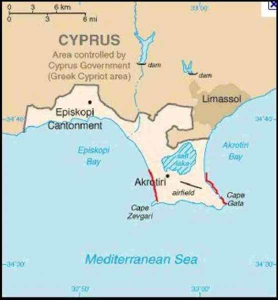 Fig. 1. Location of RAF Akrotiri in Cyprus